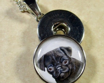 Black Pug Snap Charm, Black Pug Button Charm, Black Pug Jewelry, Black Pug Snap Jewelry, Black Pug Gifts, Black Pug Mom Gifts
