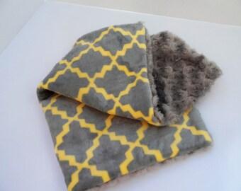 Soft, Cuddly Lovey Blanket - Gray & Yellow Tile Design - Double Minky Blanket - Silver Rosebud Minky - Baby Blanket - Modern - Ready to Ship