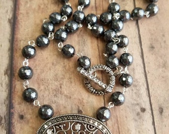 Handmade necklace/ Antique silver and rhinestone pendant/ Hematite beaded necklace/ Serenitybymisti necklace