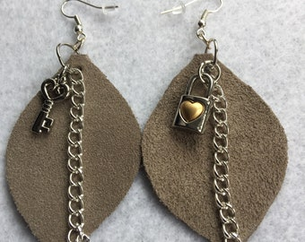 Love Lock Suede Drop Earrings