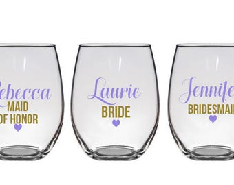 Will you be my bridesmaid wine glasses, Asking Bridesmaid, Bridesmaid Proposal wine glass, Will you be my maid of honor