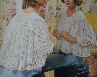 Womens crochet bedjacket vintage pattern crocheted bed jacket pdf INSTANT download pattern only pdf 1960s