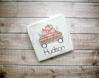 Pumpkins in Wagon Vintage Stitch Personalized Onesie or T-shirt