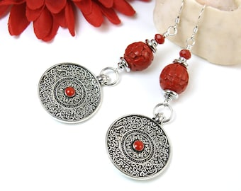 Silver Boho Earrings, Tibetan Coin Earrings with Red Coral, Ornate Silver Coin Dangles, Tribal Bohemian Jewelry, Gypsy Style Long Earring