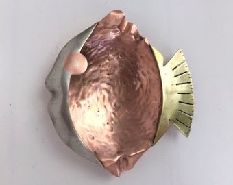 Fantastic Mexican Mixed Metals Fish Ashtray