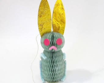 Vintage Honeycomb Easter Bunny/ Blue Bunny Rabbit/ Vintage Honeycomb Easter