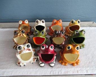 Vintage Ceramic Sink Frog, Sponge Caddy, Kitschy Retro 70's Kitchen Decor