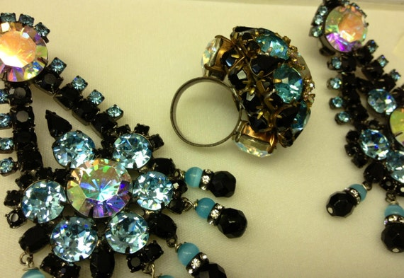 Lawrence VRBA Amazing Dimensional Earrings and Ring, HUGE