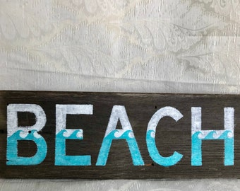 Wooden Beach Sign