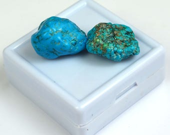 42.00 Ct High Quality Natural Arizona Mine Kingman Turquoise Gemstone Rough Pair