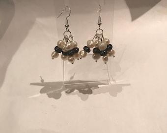 Black and white pearl drop earrings