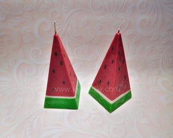 Pyramid watermelon candle.
