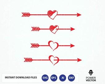Arrow SVG, Vintage Arrow Heart SVG, Arrow Cutting File, Arrow Clipart, Heart Arrow svg, SVG Files, Cricut Cut Files, Silhouette Cut
