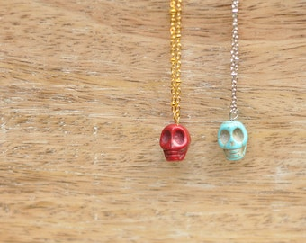 Angelica Turquoise Skull Pendant Necklace