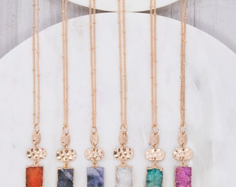 Rectangle druzy natural stone pendant with metal charm long necklace