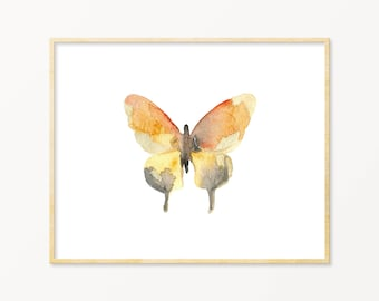 Watercolor Butterfly Art Print. Orange & Gray Butterfly Art. Pastel Butterfly Wall Decor. Baby Shower Gift. Modern Nature Gallery Wall Art.