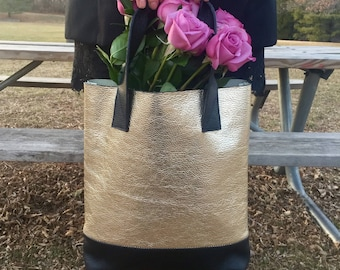 Tote Bag/ Leather bag/ Women Tote Bag/ Golden Leather Bag/ Gift for Her