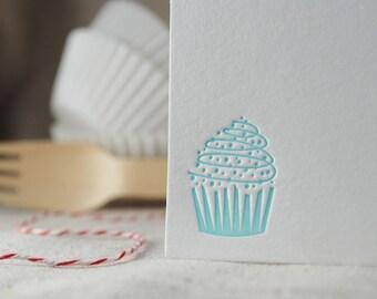 Cupcake Letterpress Notes, Set of 5