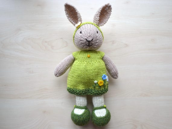 Knitting Easter Bunnies : Hand knit easter bunny girl soft toy knitted little