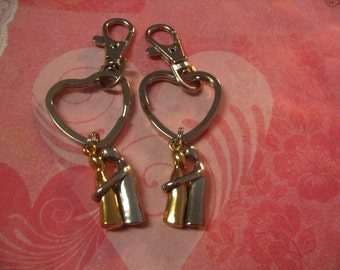 His and Her Key Chain for Boyfriend Girlfriend Couples Hugging Accessories Gift