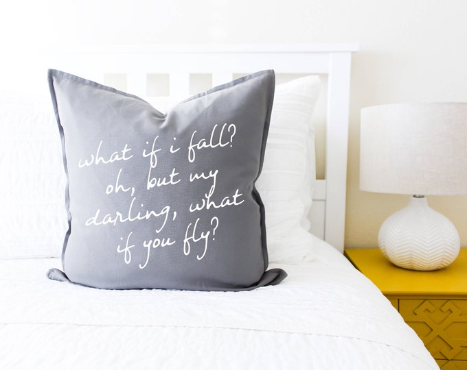 What If I Fall? Pillow Cover - Gift for Her, Gift for Mom, Mother's Day, Guest Room, Home Decor, Pillowcase, Cushion Cover