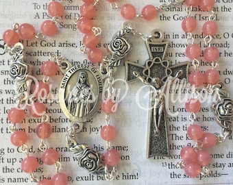Rose Opal Czech glass and silver plated rose bead rosary with silver plated St Therese of Lisieux center and crucifix