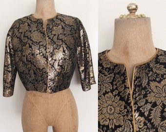 1960's Black & Gold Floral Brocade Cropped Jacket Size Small Medium by Maeberry Vintage