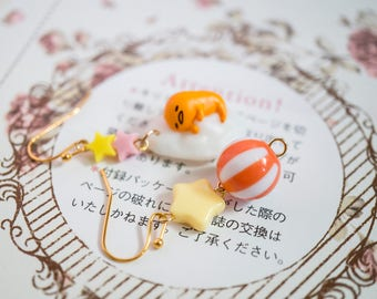 Egg Lover. Yellow Orange Kawaii Gudetama Egg With Stars Mix Match Dangling Earrings