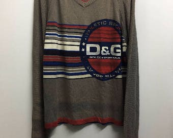 Dolce And Gabbana D&G Striped Knit Sweater Pull Over