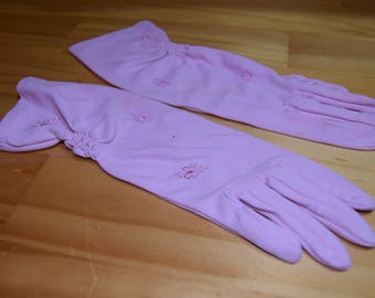 Vintage Pink Butterfly Embroidered Rouched Gloves