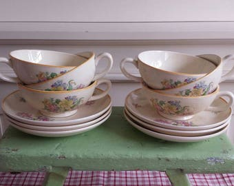 Antique tea cups and saucers, set of 6, soft yellow with floral motif