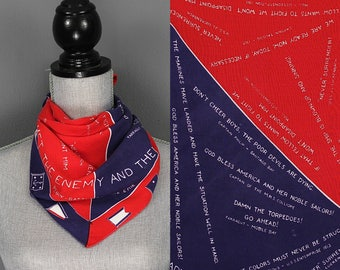 Rare Vintage WWII Scarf - WWII American Patriotic Bandana - 40s WwII US Navy Scarf - 1940s WwII Bandana - 1940s WwII Rayon Scarf