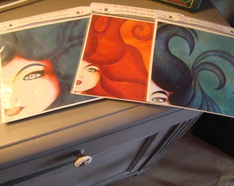 Set of 3 postcards with envelopes