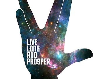 """Live Long And Prosper - Star Trek - Galaxy Art - Wall Art Print - 8x10"""" 11x14"""" 16x20"""""""
