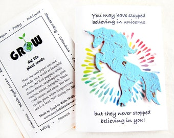 Seed Paper Plantable Friendship Unicorn Card - Believe in Unicorns Card with flower seeds