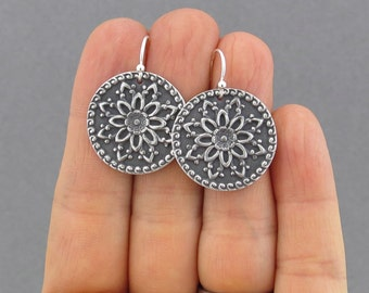 Dahlia Earrings Floral Earrings Flower Mandala Earrings Silver Earrings Romantic Jewelry Handmade Gift for Women - Dahlia Mandala