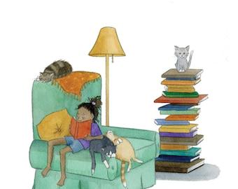 10x12, Vertical, Art Print, Reading Girl, Gift for Readers, Children's, Nursery, Wall Art