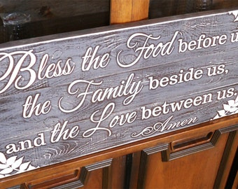 Distressed Kitchen Sign • Bless the food before us sign • rustic kitchen sign • country kitchen sign • country decor • Bless the food sign