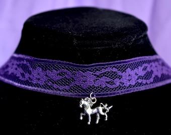 Purple Unicorn Lace Choker Necklace
