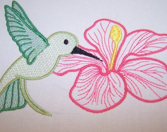 Machine Embroidery Design- Hummingbird Colorline #07 with 3 sizes Included!