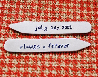 Personalized Collar Stays - Groom - Hand Stamped Aluminum Collar Bar - Dad or Grandpa - Wedding Gift