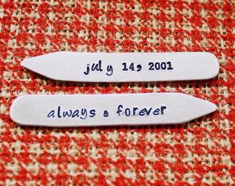 Personalisierte Kragen bleibt - Bräutigam - handgestempelt Aluminium Kragen Bar - Papa oder Opa - Hochzeitsgeschenk