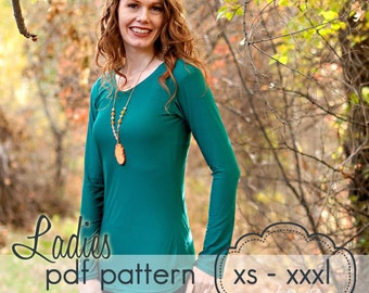 Ladies Classic Tee - INSTANT DOWNLOAD - xs through xxxl - pdf sewing pattern