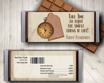 Retirement Party, Candy Bar Wrapper, Retirement Favors, Retirement For Him, Pocket Watch For Men, Dad Retirement, Retirement Ideas