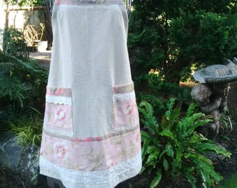Hemp and Cotton Adult Apron//Mothers Day Gift//Hostess Gift