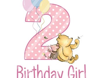Classic Winnie the Pooh Baby's Birthday Girl Digital Download iron-ons, heat transfer, Scrapbooking, Cards, Totes, DIY, YOU PRINT