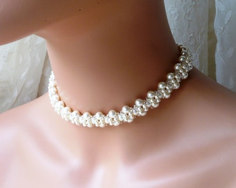 Pearl Choker, Pearl Choker Necklace, WHITE OR IVORY Pearl, Choker Necklace, Beaded Choker, Statement Choker Necklace, Chokers for Women