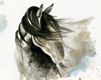 Shy Horse ,Watercolor Horse Art, Western Decor, Watercolor Horses Sepia, Equine Home Decor,  Wall Art, Mane, Abstract Horse Painting