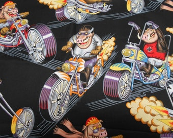 "Alexander Henry 2 Yards  ""Pork Choppers""  2005 Out of Print Motor Cycle Hog Harley Cotton Fabric 2 yards"