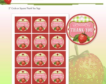 Strawberry Birthday Party Thank You Tags - DIY Printable - Do-It-Yourself - Very Berry Birthday Party